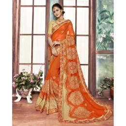 Orange Festival Saree In Embroidered Georgette