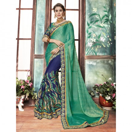 Green Georgette Embroidered Festival Wear Sarees