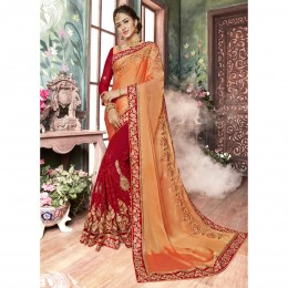 Orange Embroidered Georgette Festival Saree