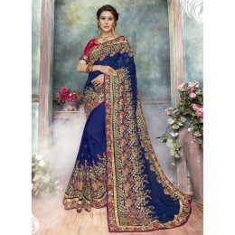 Blue Georgette Embroidered Festival Wear Saree