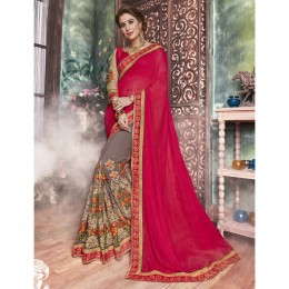 Pink Georgette Embroidered Festival Wear Saree