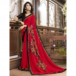 Printed Red Faux Georgette Casual Wear Saree