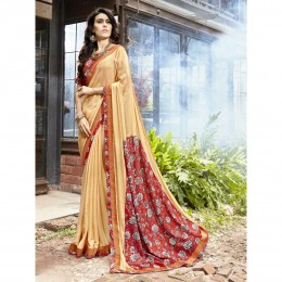 Printed Beige Faux Georgette Casual Wear Saree