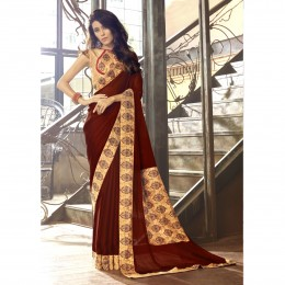 Printed Brown Faux Georgette Casual Wear Saree