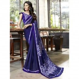 Printed Faux Georgette Blue Casual Wear Saree