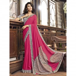 Printed Pink Faux Georgette Casual Wear Saree