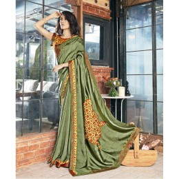 Printed Green Faux Georgette Casual Wear Saree