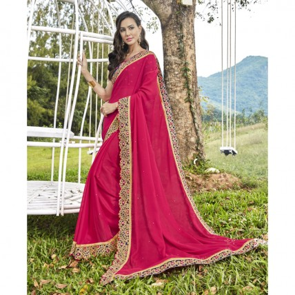 Pink Faux Georgette Border Worked Festival Wear Saree