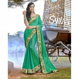 Green Chiffon Border Worked Festival Wear Sarees