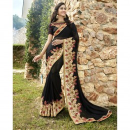 Black Faux Georgette Border Worked Festival Wear Sarees