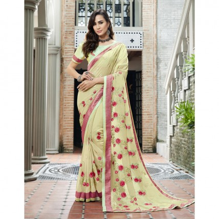 Faux Georgette Green Embroidered Festival Wear Saree