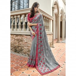 Grey Faux Georgette Embroidered Festival Wear Sarees