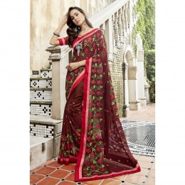 Maroon Faux Georgette Embroidered Festival Wear Sarees