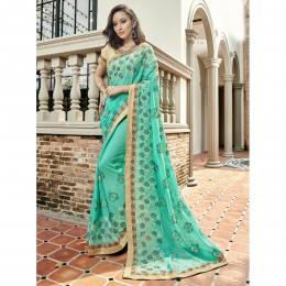 Green Faux Georgette Embroidered Festival Wear Saree