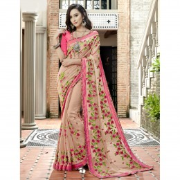 Peach Faux Georgette Embroidered Festival Wear Sarees