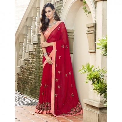 Red Faux Georgette Embroidered Festival Wear Sarees