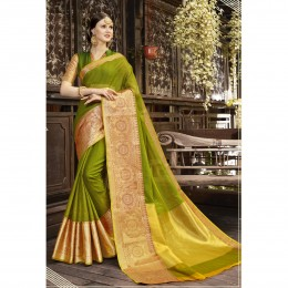 Blended Cotton Woven Green Festival Saree