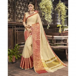 Off White Blended Cotton Woven Festival Wear Sarees