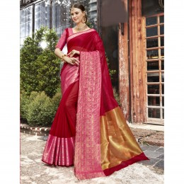 Magenta Blended Cotton Woven Festival Wear Sarees