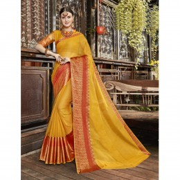 Yellow Blended Cotton Woven Festival Wear Sarees