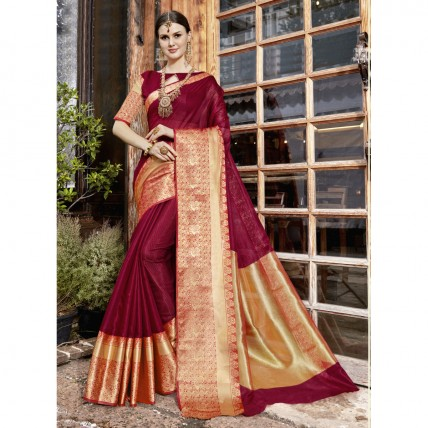 Maroon Blended Cotton Woven Festival Wear Sarees