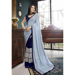 Blue Faux Georgette Embroidered Casual Saree