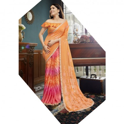 Orange Faux Georgette Embroidered Office Wear Sarees