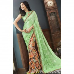Multicolour Embroidered Faux Georgette Casual Wear Saree