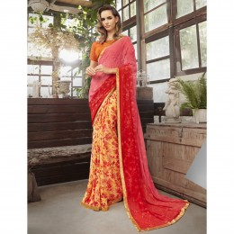 Embroidered Yellow Faux Georgette Casual Saree