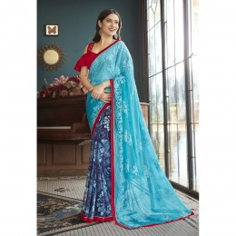 Blue Faux Georgette Embroidered Office Wear Sarees