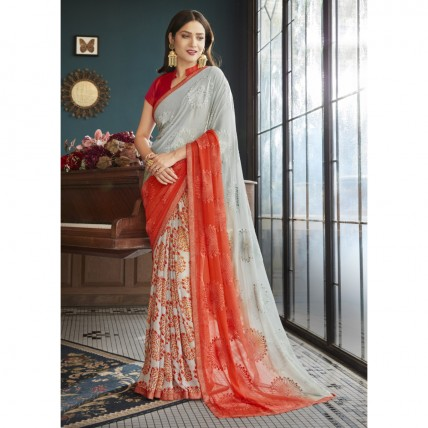Grey Faux Georgette Embroidered Office Wear Sarees