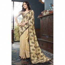 Beige Faux Georgette Embroidered Office Wear Sarees