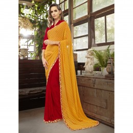 Embroidered Red Faux Georgette Casual Wear Saree