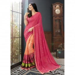 Orange Faux Georgette Embroidered Casual Wear Sarees