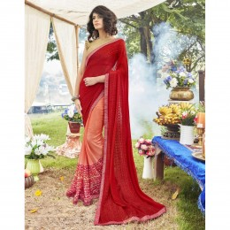 Orange Faux Georgette Embroidered Party Wear Sarees