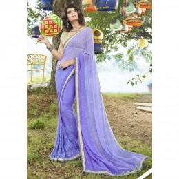 Blue Faux Georgette Embroidered Casual Wear Saree