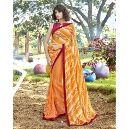 Yellow Faux Georgette Embroidered Casual Wear Saree