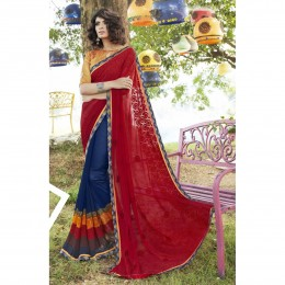 Blue Faux Georgette Embroidered Party Wear Sarees