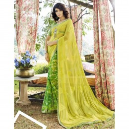 Green Faux Georgette Embroidered Casual Wear Sarees