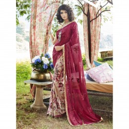 Embroidered Multicolor Faux Georgette Casual Saree