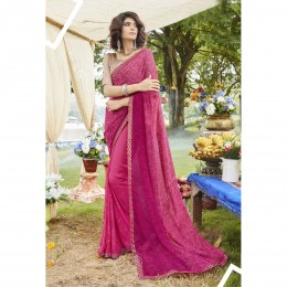 Pink Faux Georgette Embroidered Casual Wear Sarees