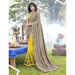 Yellow Faux Georgette Embroidered Party Wear Sarees