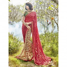 Red Faux Georgette Embroidered Casual Wear Saree