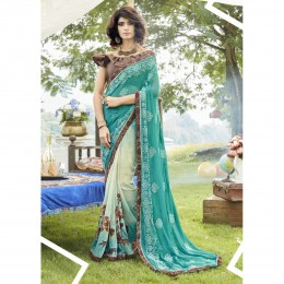 Sky Blue Faux Georgette Embroidered Casual Wear Sarees