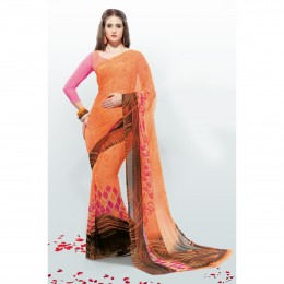 Chiffon Printed Orange Casual Saree