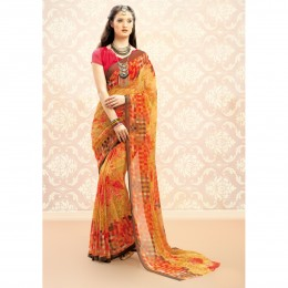 Casual Printed Yellow Chiffon Saree