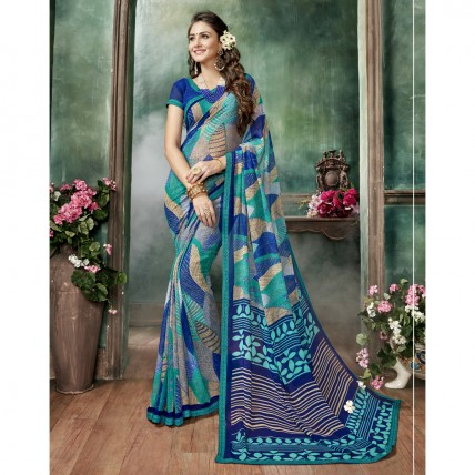 Georgette Printed Multicolour Casual Wear Saree
