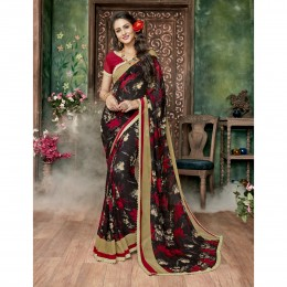 Georgette Black Printed Casual Wear Saree