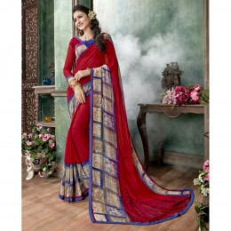 Red Georgette Printed Casual Wear Sarees