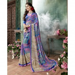 Georgette Printed Casual Saree In Multicolour